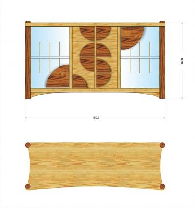 Meble drewniane artystyczne na zamówienie projekt unikatowej szafki audio na winyle.