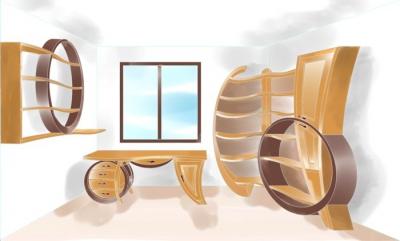 Meble drewniane artystyczne unikatowy dizjnerski projekt gabinetu ze zdjęcia 4106 w galerii