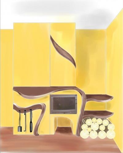 Projekt drewnianych obróbek kominka do salonu.