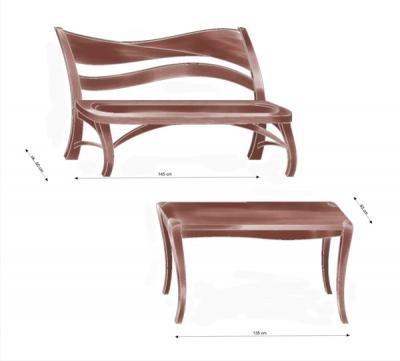 Meble drewniane unikatowe artystyczne dizjnerskie do jadalni zrealizowany ze zdjęć 1143-4.