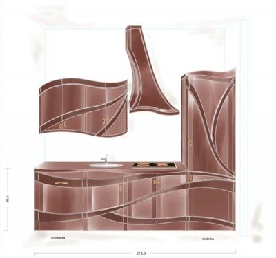Projekt meble drewnianych kuchennych unikatowych, fotografie 1141-2 z galeri