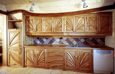 Meble kuchenne drewniane artystyczne na zamówienie. #1011