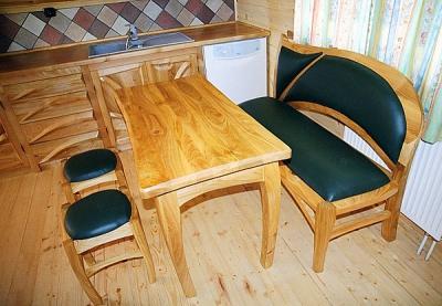 Meble z drewna na wymiar jadalnia stół i ława. #1012