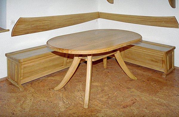 1033 - Meble drewniane unikatowy stół i ława do jadalni.
