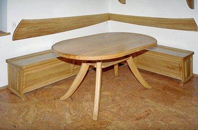 Meble drewniane unikatowy stol i lawa do jadalni. #1033