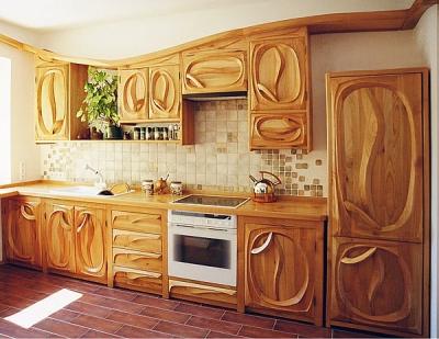 Meble drewniane artystyczne kuchenne. #1051