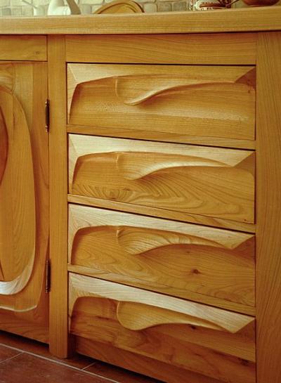 Kuchenne drewniane unikatowe meble szuflady. #1054