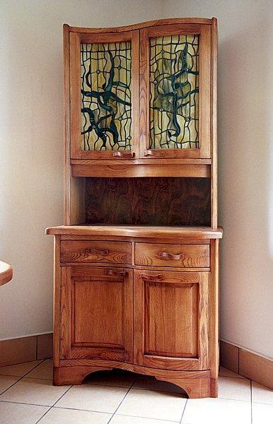 Meble drewniane unikatowe kredens kuchenny z witrażami. #1063