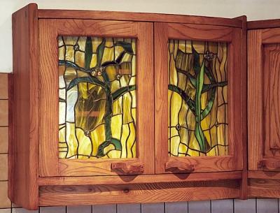 meble drewniane do kuchni artystyczne witraże. #1064