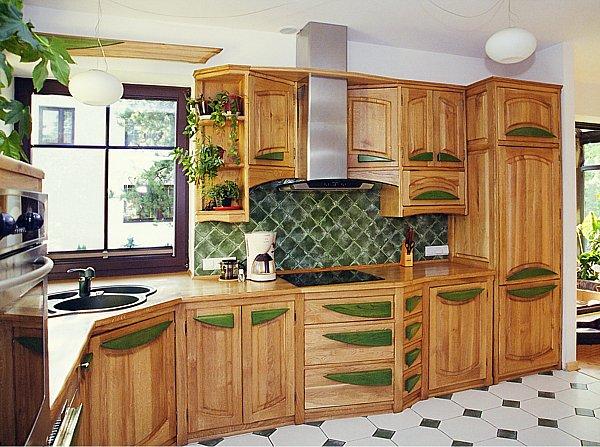 1081 - Meble z drewna szafki kuchenne unikatowe.