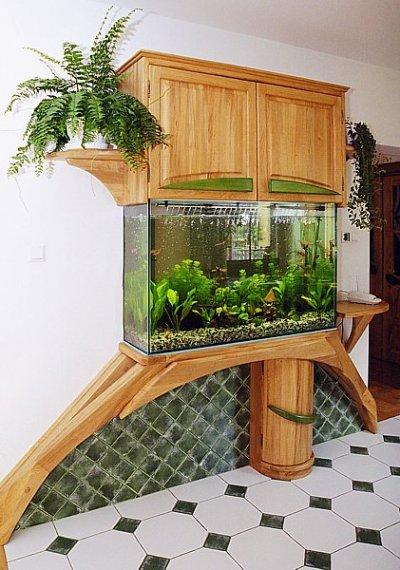 Meble z drewna dębowe unikatowa zabudowa akwarium. #1083