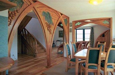 Meble z drewna jadalnia unikatowe szkło fusing. #1112