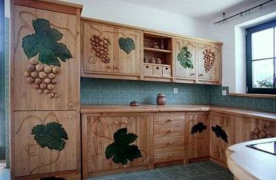 Meble drewniane artystyczne szafki kuchenne fusing. #1115