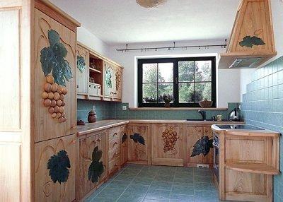 Meble z drewna unikatowe szafki kuchenne na zamówienie szkło fusing. #1116