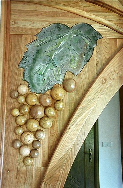 Meble na zamówienie z drewna artystyczne szkło fusing. #1114