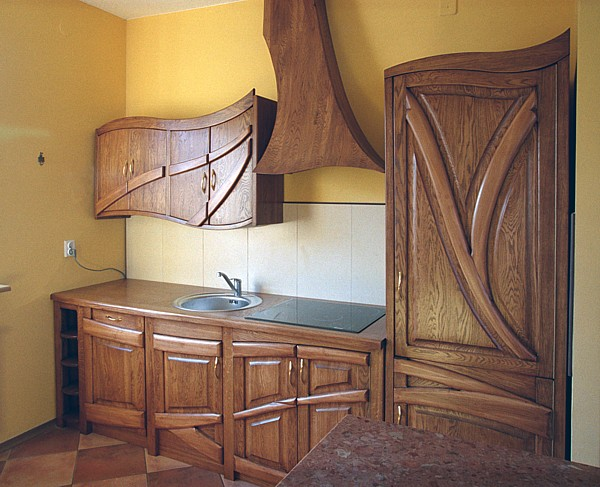 1141 - Meble drewniane do kuchni unikatowe szafki dębowe.