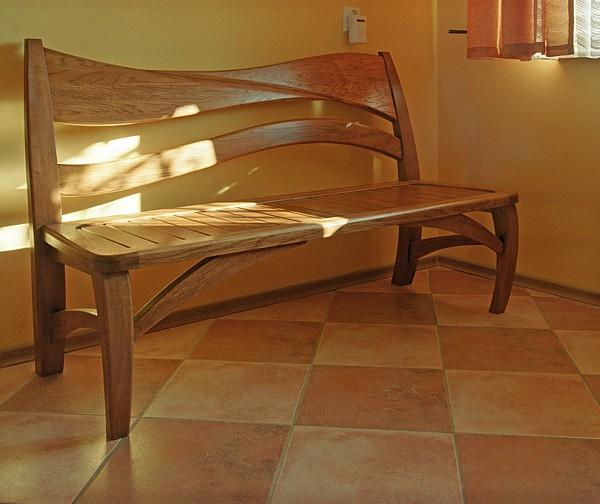 1145 - Meble z drewna do jadalni artystyczna ława dębowa.