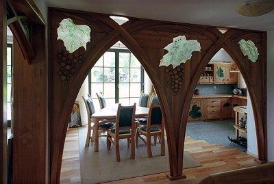 Meble drewniane na wymiar kuchnia i jadalnia, szkło fusing artystyczne. #1111
