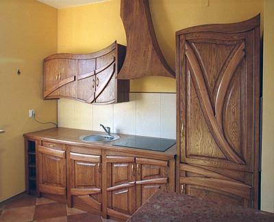 Meble drewniane do kuchni unikatowe szafki dębowe. #1141