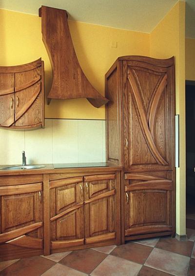 Meble drewniane dębowe do kuchni unikatowe szafki. #1142