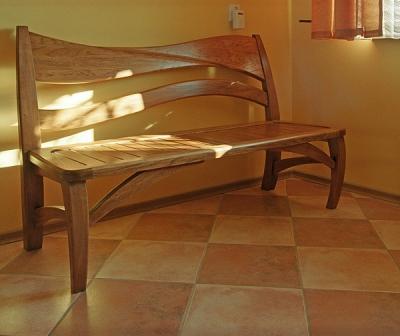 Meble z drewna do jadalni artystyczna ława dębowa. #1145