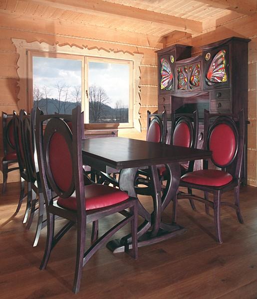 1162 - Meble drewniane na wymiar unikatowy stół z krzesłami do jadalni, kredens z witrażami.