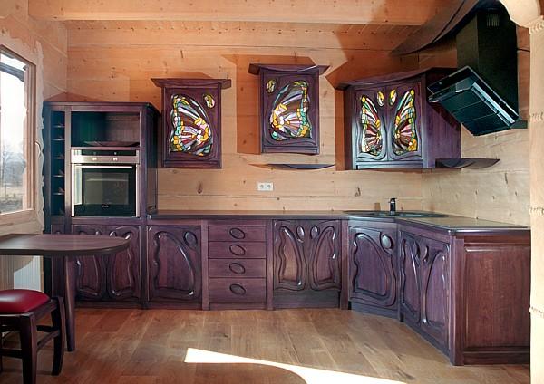 1164 - Meble drewniane kuchenne, meble z artystycznymi witrażami. witrażami