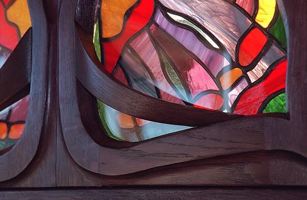 1167 - Meble drewniane unikatowe z witrażami na zamówienie.