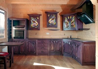 Meble drewniane debowe kuchenne, meble z artystycznymi witrażami. witrażami. #1164