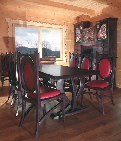 Meble drewniane dębowe na wymiar unikatowy stół z krzesłami do jadalni, kredens z witrażami. #1162