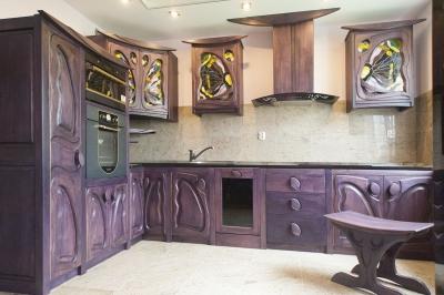 11614 Drewniane meble kuchenne śliwka