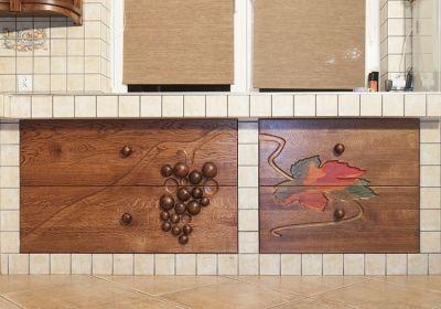 dębowe rzezbione szafki kuchenne. #11712