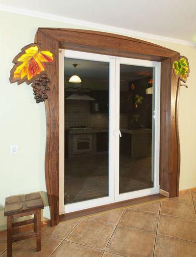 drzwi drewniane artystyczne na taras. #11713
