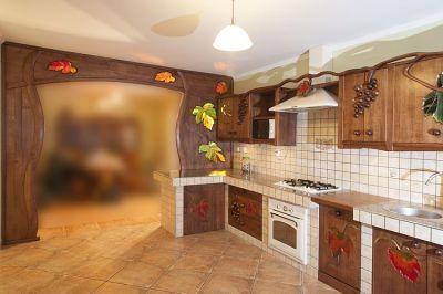 dębowa artystyczna kuchnia z drewna. #1175