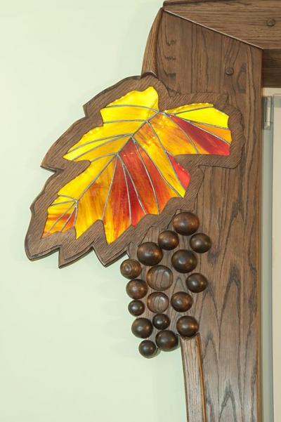 witraz drzwi drewnianych. #11714