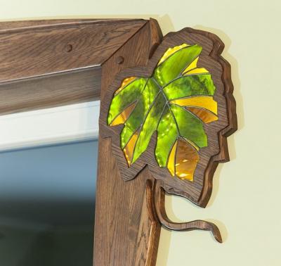 artystyczny witraz drzwi z drewna. #11715