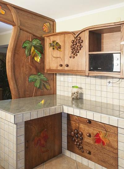 dębowa kuchnia winogrona detal. #1177