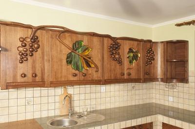 debowe szafki kuchenne artystycznie malowane. #1178
