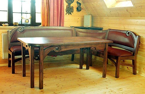 2015 - Meble drewniane unikatowy stół dębowy tapicerowane ławy, urządzanie wnętrz.