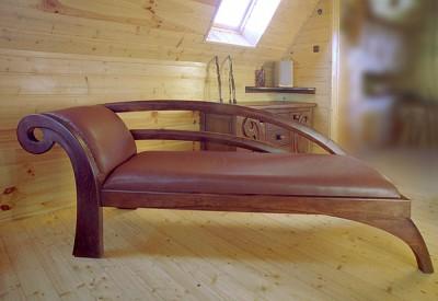 Meble z drewna artystyczny unikatowy szezlong sofa na wymiar. #2014