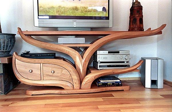 2023 - meble drewniane artystyczne stolik rtv na zamówienie unikatowy projekt autorski..