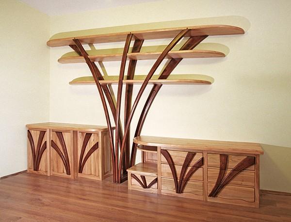 2031 - Meble drewniane do salonu artystyczna meblościanka regał z drewna na wymiar.