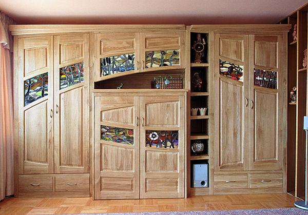2041 - Meble drewniane szafa dębowa z witrażami artystycznymi, szafa rtv.