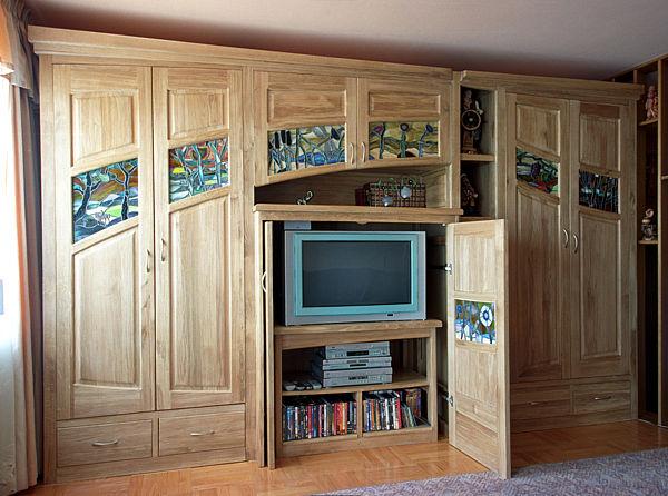 2042 - Meble z drewna do salonu, szafa drewniana dębowa z witrażami, rtv.