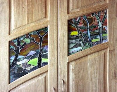 Meble drewniane artystyczne witraze do pokoju dziennego. #2043