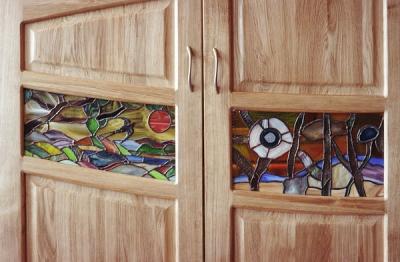 Meble z drewna salonowe unikatowe artystyczne witraze. #2046