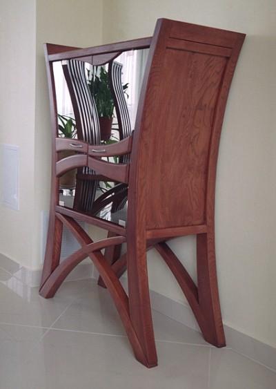 Meble z drewna autorskie do pokoju dziennego unikatowy barek drewniany i krzesla do jadalni. #2056