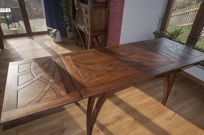 dębowy artystyczny stół drewniany rozkladany #2079