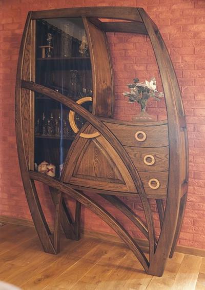 dębowa artystyczna witryna z barkiem #2072