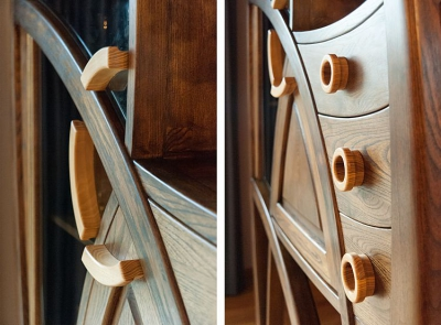 dębowa witryna unikatowe drewniane uchwyty #2073